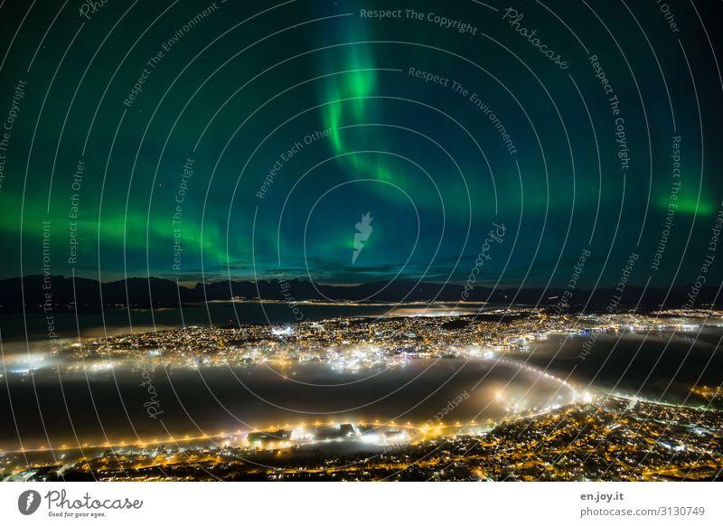 heavenly beautiful Vacation & Travel Tourism Trip Far-off places Sightseeing City trip Night sky Island Tromsø Norway Scandinavia Town Port City Bridge