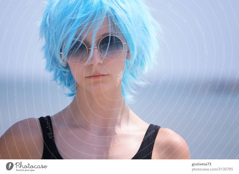 Hipster girl with blue hair and sunglass Young woman Youth (Young adults) Life 1 Human being 13 - 18 years Summer Beautiful weather Beach Hair and hairstyles