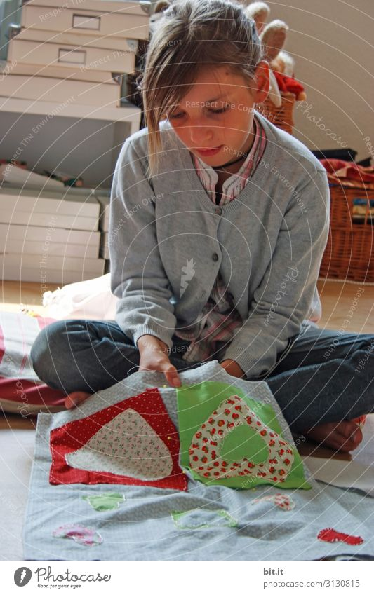 Human being Youth (Young adults) Girl Feminine Infancy Sit Study Handcrafts Sewing Crouch Patchwork Embroider