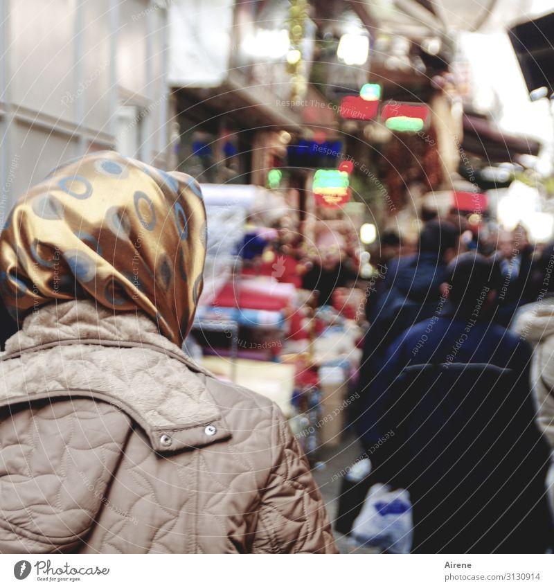shopping Human being Adults Head Back 1 Group Istanbul Pedestrian Street Pedestrian precinct Passage Bazaar Jacket Coat Headscarf Shopping Dark Town Blue