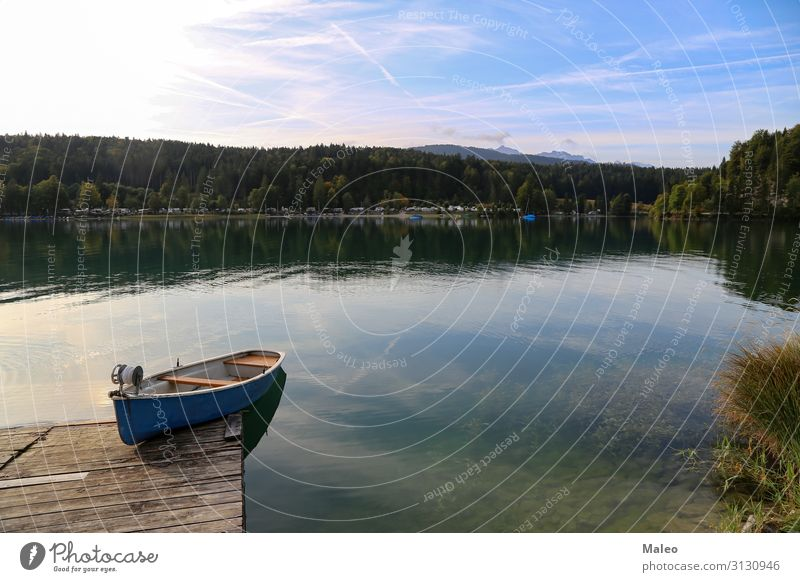 Fishing boats on Lake Walchensee Alpine Alps Bavaria Watercraft Fishery Germany Nature Vacation & Travel Travel photography Blue Fisherman Mountain Sky