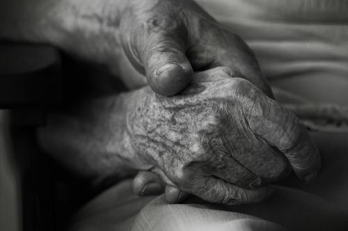 Two hands of old people, togetherness Female senior Woman Male senior Man Partner Senior citizen Hand Fingers age spots Wrinkle 60 years and older Old Hope