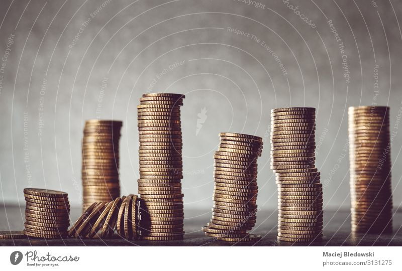 Stacks of golden coins. Shopping Luxury Happy Money Save Success Economy Financial Industry Stock market Financial institution Business Retirement Gold Rich