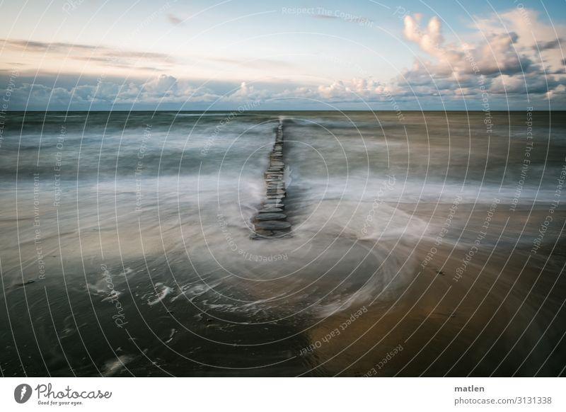 sandy beach, groynes long time exposure Long exposure Horizon Clouds Beautiful weather Sandy beach Baltic Sea Stream