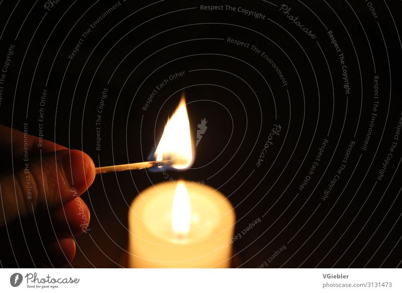 candle. Harmonious Well-being Senses Hand Fingers Candle Match Relaxation To enjoy Black White Moody Warm-heartedness Calm Sadness Concern Grief Death Love