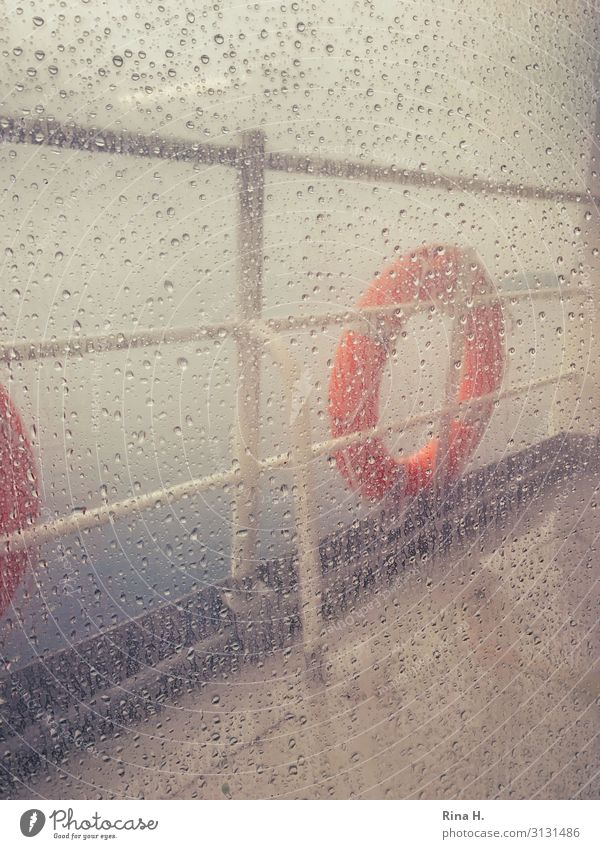 Bad weather Climate Climate change Weather Wind Fog Rain Inland navigation Passenger ship Ferry Life belt Dark Cold Wet rail Drops of water Window pane