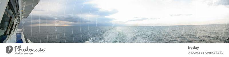 Water Clouds Watercraft Large Horizon Baltic Sea Panorama (Format) Ferry