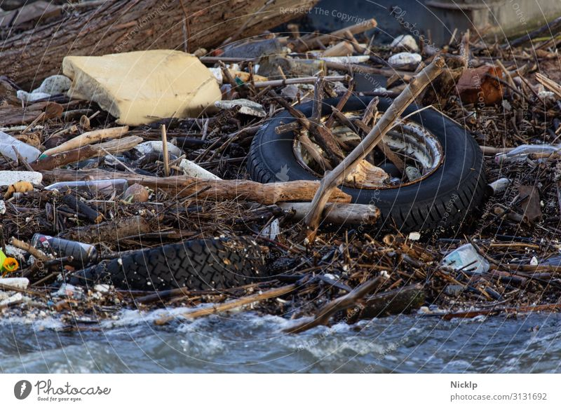 Garbage and flotsam in the Rhine near Cologne (flood) Environment Water River Waves Trash Driftwood Car tire Foam rubber Packaging PE bottle Tin Metal Plastic