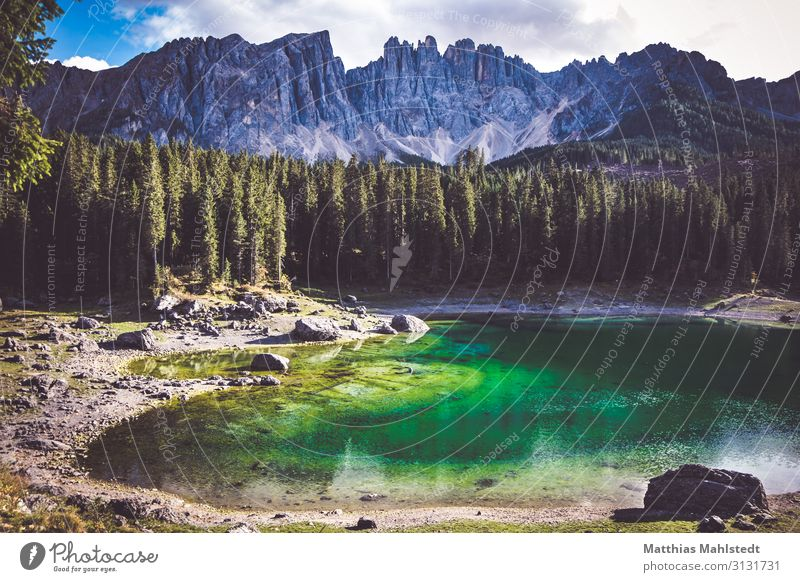Karersee in the Dolomites Environment Nature Landscape Autumn Tree Mountain Lakeside karersee Vacation & Travel Natural Blue Green Adventure Relaxation Idyll