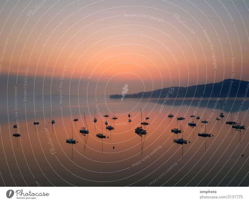 Early morning sunrise over a mountain lake with many boats and reflections Beautiful Calm Leisure and hobbies Summer Sun Ocean Mountain Group Nature Landscape