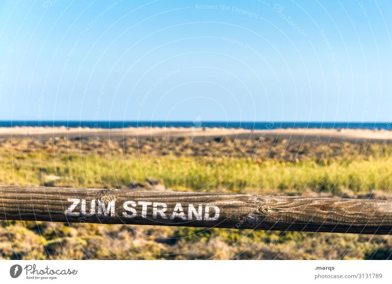 To the beach Freedom Access Tourism Signs and labeling Summer vacation Landscape Cloudless sky Beautiful weather Sand Sky Relaxation Beach Horizon Nature