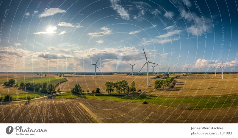 Panorama landscape with windmills in good weather Science & Research Advancement Future Energy industry Renewable energy Wind energy plant Nature Landscape