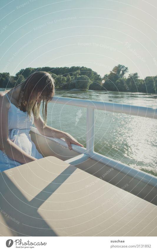 tired teenager Girl Young woman Fatigue Sleep Oversleep Siesta pressure to perform Student Leisure and hobbies Break Vacation & Travel Watercraft Navigation