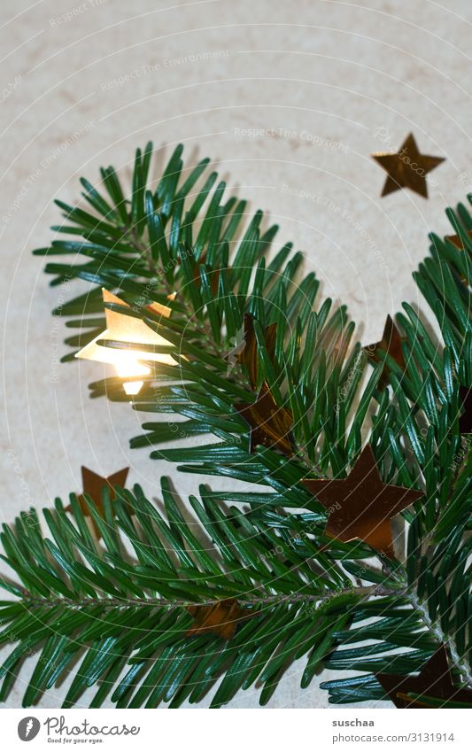 advent, advent - a little star burns ... Christmas & Advent Fir branch Star (Symbol) Illuminate Decoration Neutral Background Green Christmas wreath