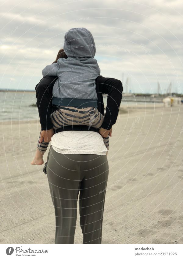 piggyback ride Human being Toddler Young woman Youth (Young adults) Mother Adults Family & Relations Infancy Life 2 Clouds Coast Beach Happy Contentment Trust