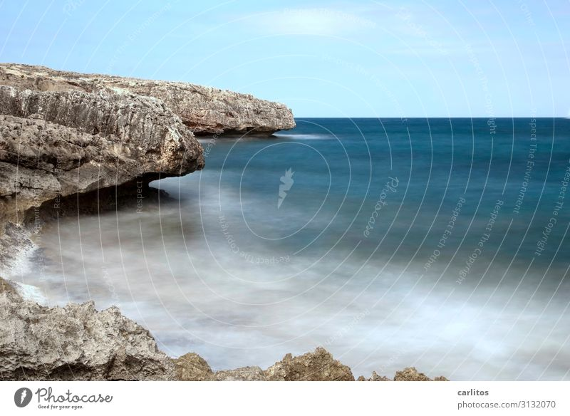 When time stops Environment Nature Elements Air Water Sky Summer Beautiful weather Rock Coast Mediterranean sea Esthetic Blue White crest Waves Horizon