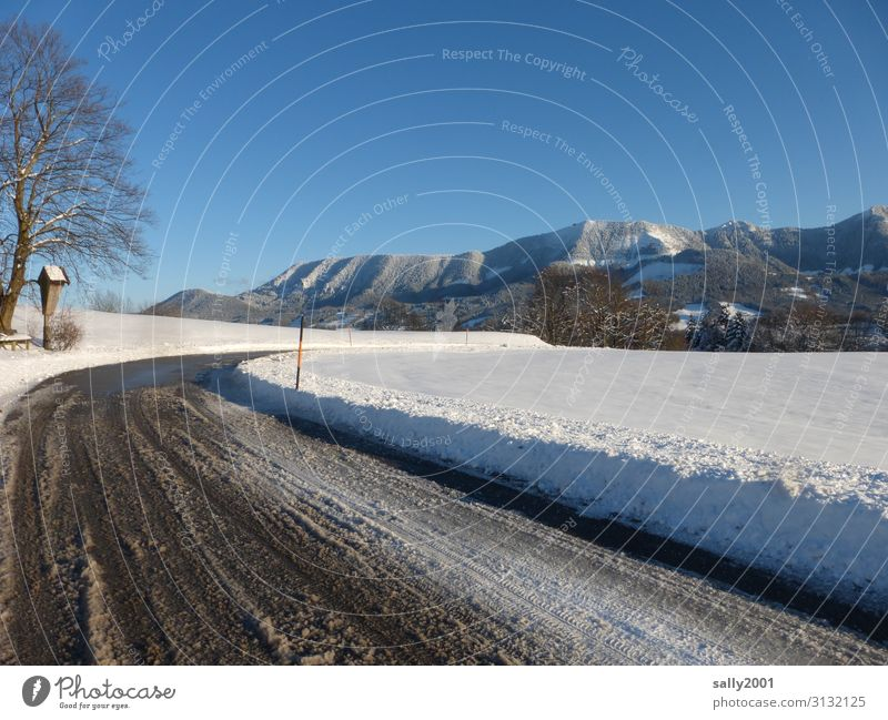 Landscape Tree Winter Mountain Street Religion and faith Cold Lanes & trails Snow Transport Ice Idyll Beautiful weather Alps Snowcapped peak Frost