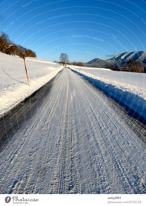onset of winter... Landscape Beautiful weather Snow Alps Transport Traffic infrastructure Street Lanes & trails Cold White Loneliness Winter Winter mood
