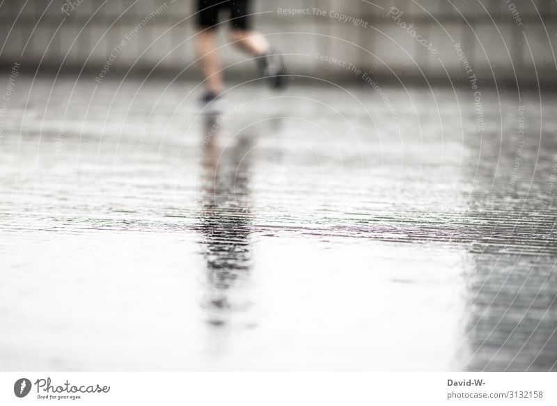 jog in the rain Lifestyle Healthy Athletic Fitness Contentment Leisure and hobbies Human being Masculine Young man Youth (Young adults) Man Adults 1 Art