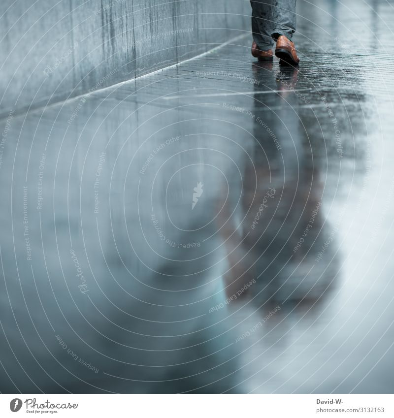 Human being Man Loneliness Lifestyle Adults Autumn Wall (building) Environment Style Business Art Feet Design Going Rain