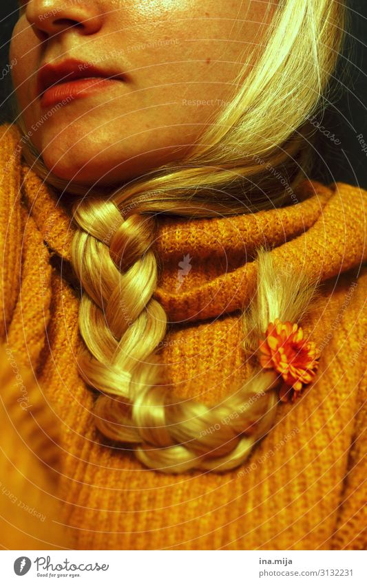 autumn II Human being Feminine 1 Fashion Sweater Accessory Hair and hairstyles Blonde Long-haired Braids Beautiful Yellow Gold Orange Autumnal Autumnal colours