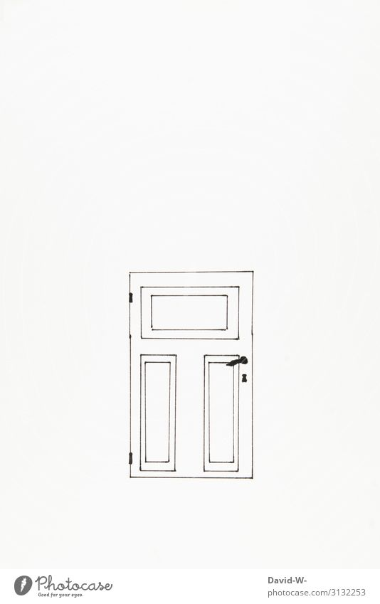 Drawing door closed locked Door lock door handle Copy Space Deserted Copy Space right Detail Copy Space top Copy Space bottom Front door Entrance Welcome