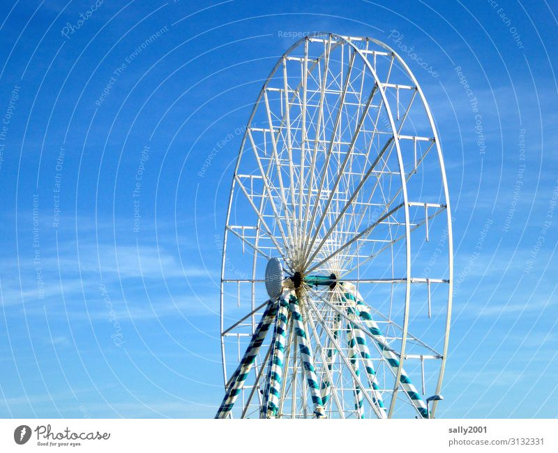 corona thoughts... no festivities... Ferris wheel out of service... folk festival Oktoberfest funfair blue-white Out of service pandemic forbidden Closed