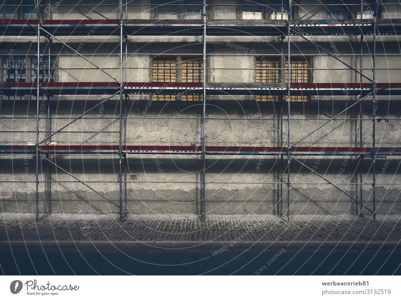 Art of scaffolding Work and employment Industry Building Architecture Facade Concrete Metal Steel Old Scaffolding construction constructing Industrial window