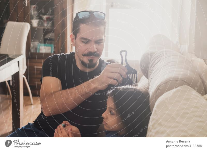 father combing Lifestyle Hair and hairstyles Sofa Living room Child Human being Man Adults Father Family & Relations Infancy Love Sit Together Modern