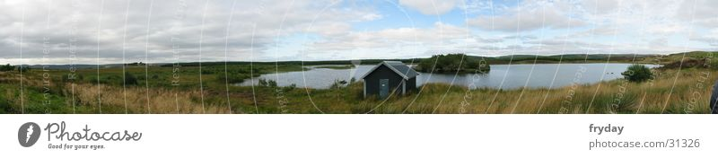 House (Residential Structure) Clouds Lake Large Horizon Hut Pasture Panorama (Format) Scotland Bad weather
