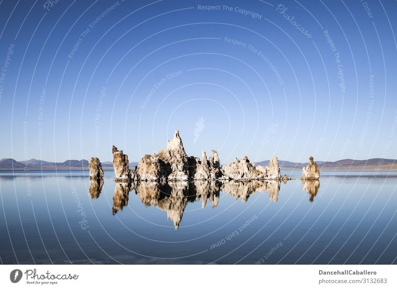 silence of the tufas... Nature Landscape Water Cloudless sky Climate Beautiful weather Lakeside Mono Lake Tufa Tuff layer Reflection Calm Stone Mono County