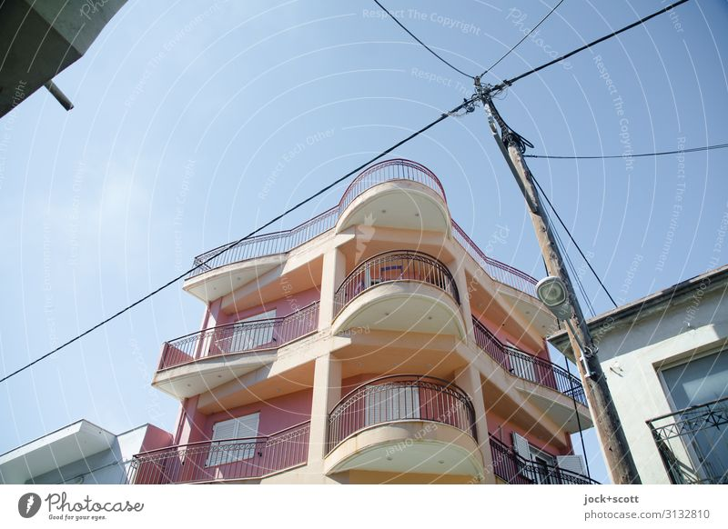 Aliveri Today City trip Cloudless sky Beautiful weather Greece Architecture Town house (City: Block of flats) Building Facade Balcony Cable Street lighting