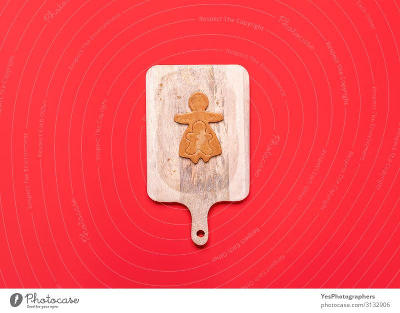 Gingerbread girl and boy cookie dough. Christmas family concept Christmas & Advent White Winter Cake Tradition Dessert Cookie Baking Chopping board December