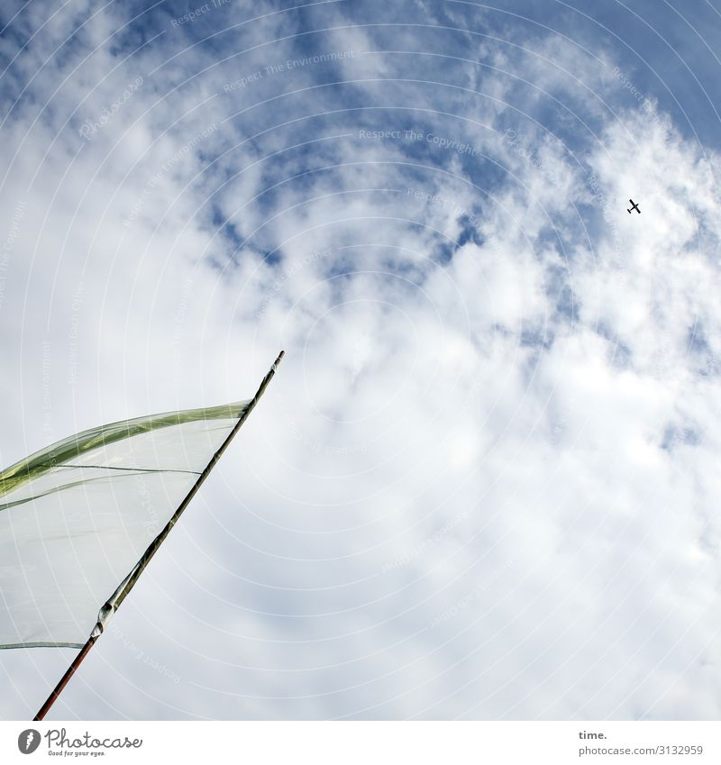 flyover Sky Clouds Beautiful weather Aviation Airplane Passenger plane Propeller aircraft Cloth Flagpole Plastic Flying Fresh Joy Self-confident Passion Life