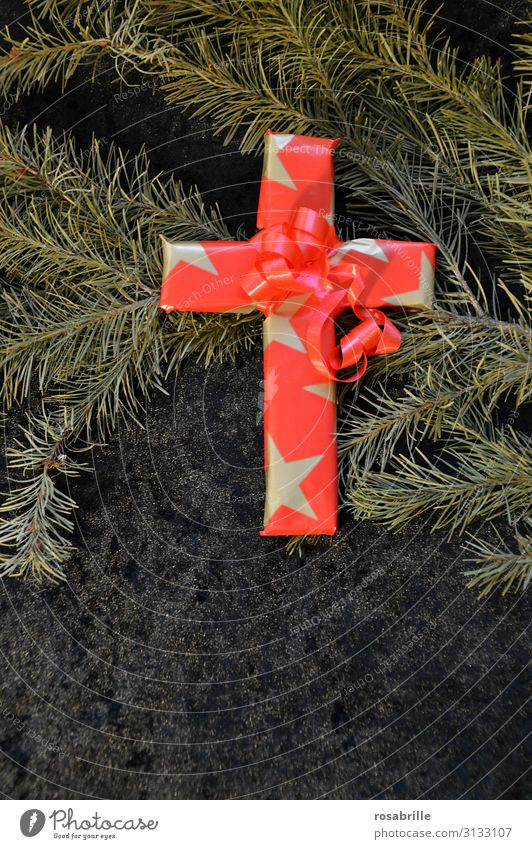 Christmas and Good Friday | Weltschmerz Decoration Christmas & Advent Crucifix Gold Red Dedication Altruism Humble Death Belief Religion and faith Tradition