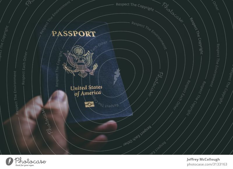 A hand holding a passport Vacation & Travel Tourism Trip Adventure Sightseeing Hand Fingers Federal eagle Shield USA American Identification Document