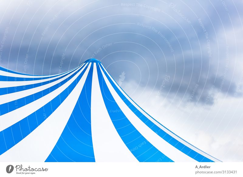 Circus tent blue white striped Design Tent Tent ceiling Art Stage play Event Shows Plastic Blue White Emotions Moody Joy Anticipation Enthusiasm Euphoria