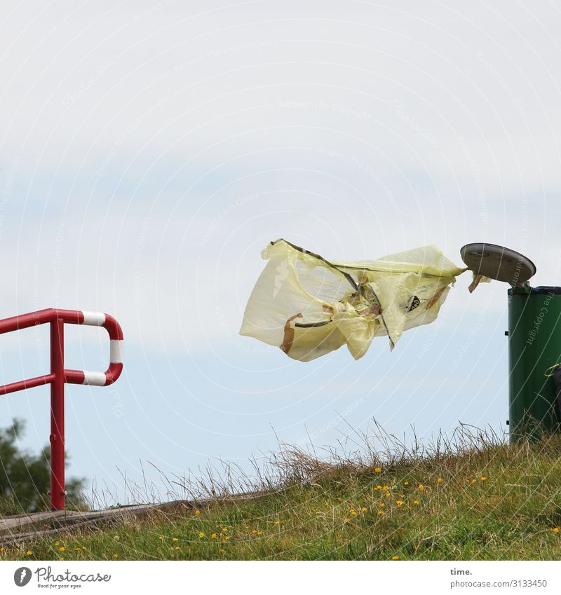 Trash! 2019 | Gone with the wind Sky Clouds Wind Gale Meadow Banister Trash container Garbage bag Might Curiosity Surprise Disbelief Nerviness Perturbed