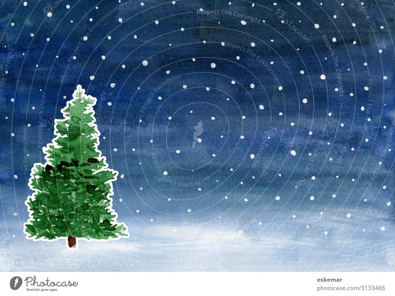 Watercolour Christmas Winter Feasts & Celebrations Christmas & Advent Christmas tree Art Painting and drawing (object) Watercolors Landscape Night sky Stars
