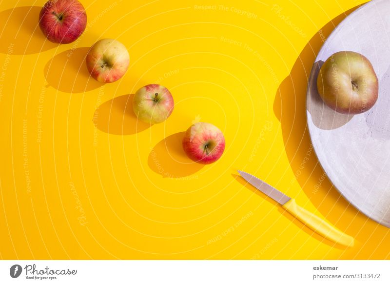 apples Food Fruit Apple Nutrition Organic produce Vegetarian diet Diet Fresh Healthy Delicious Many Yellow Red To enjoy Multiple flatlay knolling Still Life