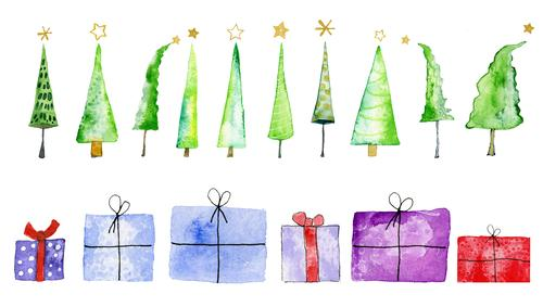 Christmas trees and presents, watercolour on paper Feasts & Celebrations Christmas & Advent Art Work of art Painting and drawing (object) Watercolors Tree Paper