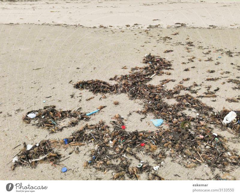 Beach Environment Sadness Coast Brown Sand Gloomy Island Many Plastic Trash Trashy Environmental protection Concern Packaging Environmental pollution