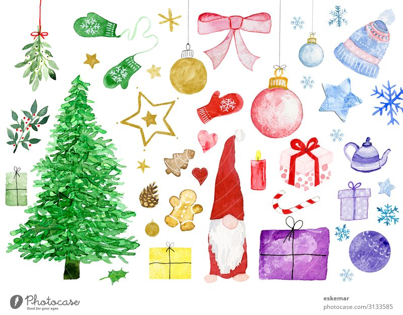 Christmas motifs in watercolour Feasts & Celebrations Christmas & Advent Art Work of art Painting and drawing (object) Watercolors Plant Tree Christmas tree
