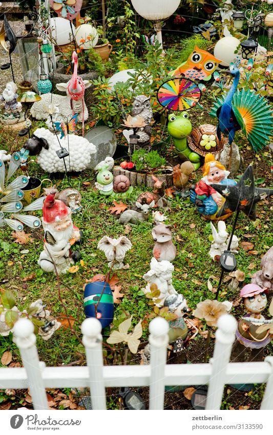 Plant Grass Garden Copy Space Decoration Lawn Garden plot Kitsch Fence Collection Figure Accumulation Garden allotments Piece Garden gnome Front garden