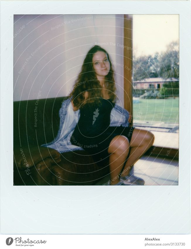 Polaroid: Young woman takes off her jacket Style already Living or residing Sofa Youth (Young adults) 18 - 30 years Adults Garden Balcony Window Dress Jacket