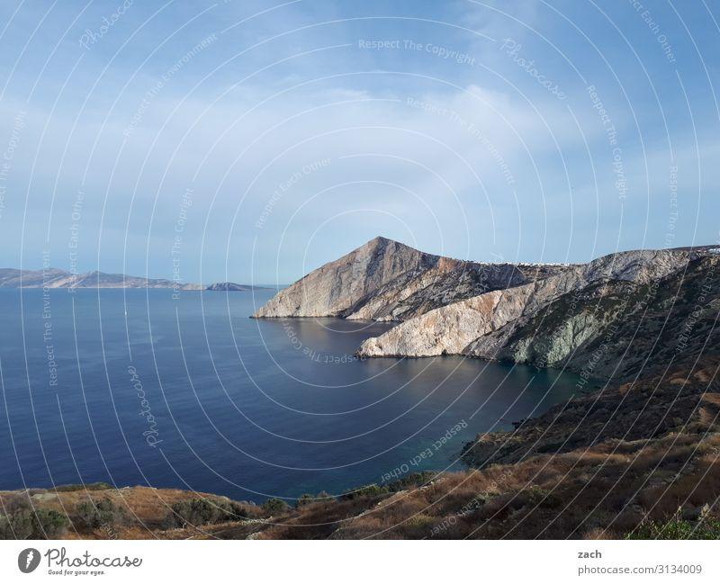 Sky Blue Water Landscape Ocean Clouds Far-off places Coast Rock Wild Island Bushes Beautiful weather Hill Mediterranean sea Greece