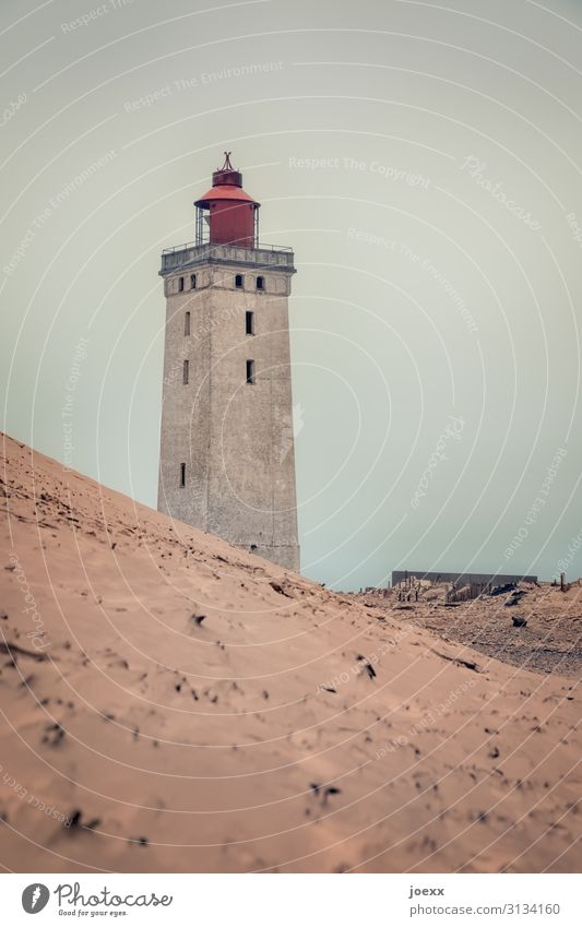 Moved Bad weather Coast Dune Denmark Lighthouse Tourist Attraction Old Historic Brown Red Colour photo Subdued colour Exterior shot Day Shallow depth of field