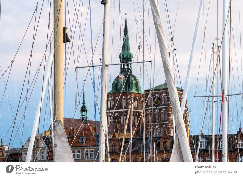 Masts of sailboats, behind them. Church Vacation & Travel Tourism Trip Sightseeing City trip Summer Aquatics Sailing Beautiful weather Baltic Sea Stralsund
