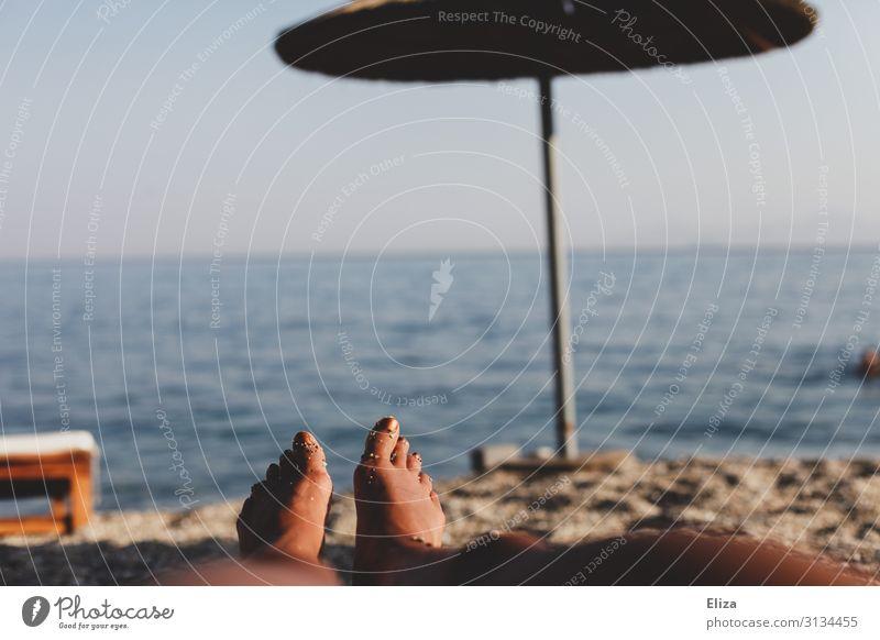Do nothing on the beach Feminine Legs Feet Summer Beach Ocean Relaxation Vacation & Travel Far-off places Lie Sunshade Horizon Sunbathing Tanned Warmth Goof off