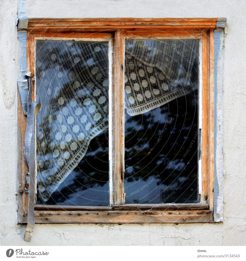 earlier was better   trapped in plastic Window Window frame Old building lost places Glass glass certificates Drape adhesive tape Broken Trashy Uninhabited